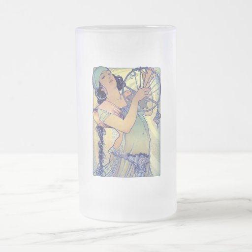 mucha gypsy tambourine dance music woman 16 oz frosted glass beer mug
