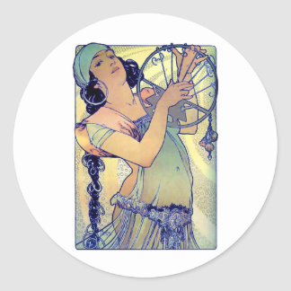 mucha gypsy tambourine dance music woman stickers