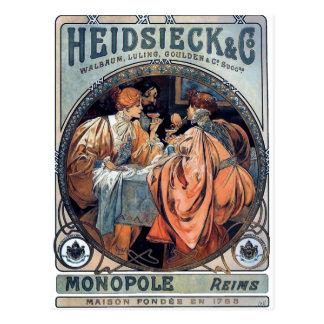 mucha Heidsieck & G beer art deco poster Postcard