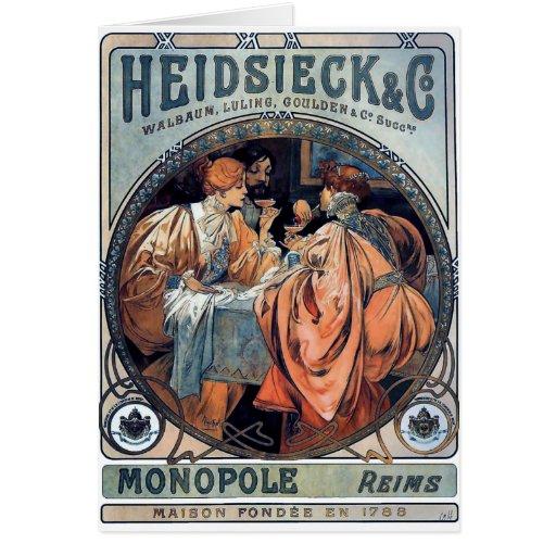 mucha Heidsieck y poster del art déco de la cervez Tarjeta De Felicitación