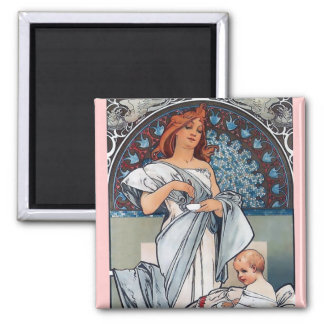 Mucha Hot chocolate mother baby vintage gift Magnet