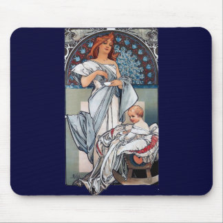 Mucha Hot chocolate mother baby vintage gift Mousepad