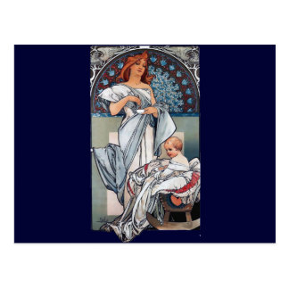 Mucha Hot chocolate mother baby vintage gift Postcard