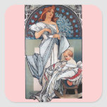 Mucha Hot chocolate mother baby vintage gift Square Sticker