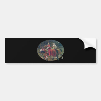Mucha knight lady painting horses forest romantic bumper sticker