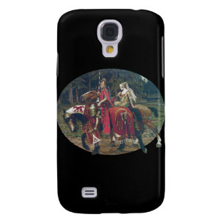Mucha knight lady painting horses forest romantic samsung galaxy s4 cover