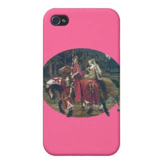 Mucha knight lady painting horses forest romantic cases for iPhone 4