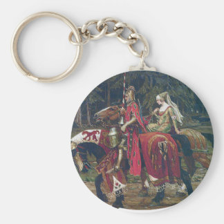 Mucha knight lady painting horses forest romantic keychain