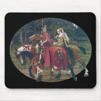 Mucha knight lady painting horses forest romantic mouse pad