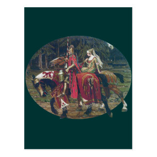 Mucha knight lady painting horses forest romantic postcard