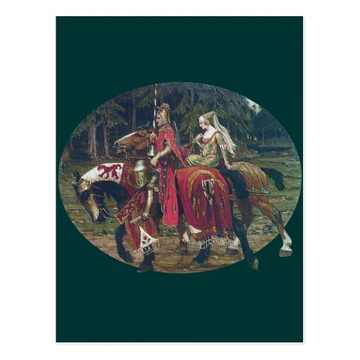Mucha knight lady painting horses forest romantic postcards