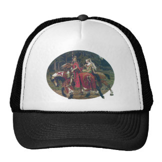 Mucha knight lady painting horses forest romantic trucker hat