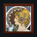 """Mucha  La Plume Art Nouveau Gift Jewelry Box<br><div class=""""desc"""">La Plume (The Pen, sometimes called The Quill) by Alphonse Mucha, 1899 One of two decorative panels from the set Plume et Primevere. This work is lesser known but is among the most highly praised by art critics. &quot;These two symbolic figures, complete with Mucha&#39;s customary aureoles around their heads and...</div>"""