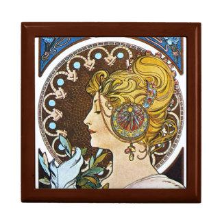 Mucha  La Plume Art Nouveau Gift Jewelry Box
