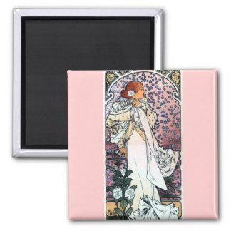 mucha lady with camelias thatre art nouveau magnets