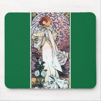 mucha lady with camelias thatre art nouveau mouse pad