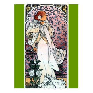 mucha lady with camelias thatre art nouveau postcard