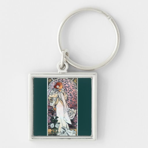 mucha lady with camelias thatre art nouveau Silver-Colored square keychain