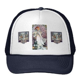 mucha lady with camelias thatre art nouveau trucker hat