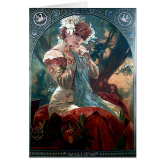 Mucha Lefevre-Utile art deco woman red dress Card