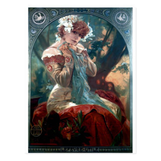 Mucha Lefevre-Utile art deco woman red dress Postcard