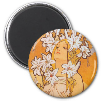 """Mucha """"Lily"""" - Flowers 2 Inch Round Magnet"""