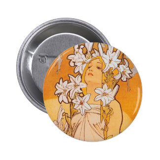"""Mucha """"Lily"""" - Flowers Pinback Button"""