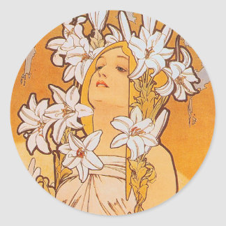 "Mucha ""Lily"" - Flowers Classic Round Sticker"