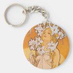 "Mucha ""Lily"" - Flowers Keychain"