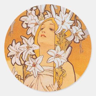 Mucha Lily - Flowers Round Sticker