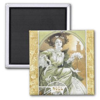 Mucha Magnet:  Alphonse Mucha - Art Nouveau 2 Inch Square Magnet