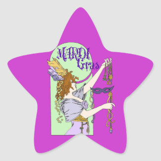 Mucha Mardi Gras Star Sticker