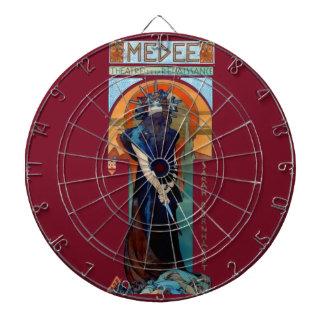 Mucha Medee Art Nouveau Woman Dartboard
