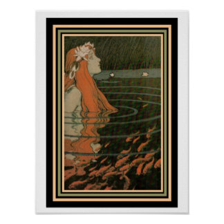 "Mucha ""Mermaid with Gold Fish""  Art Nouveau Poster"