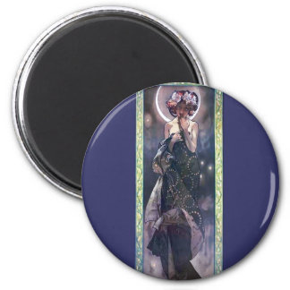 Mucha Moon Night Woman Art Nouveau Deco 2 Inch Round Magnet