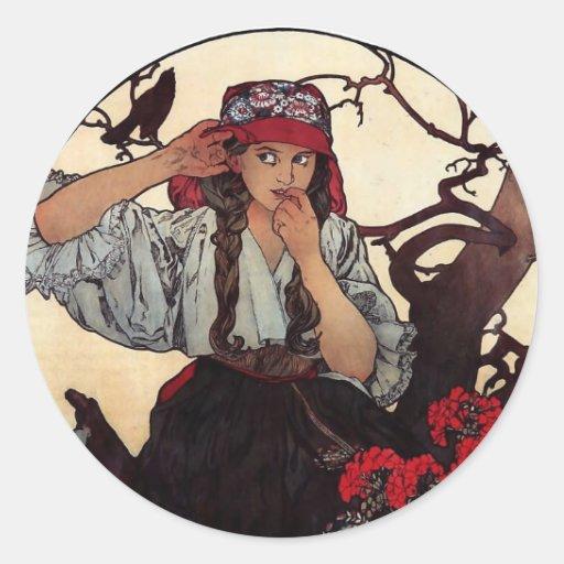 Mucha Moravian teachers girl raven sun nature Classic Round Sticker