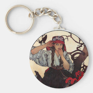 Mucha Moravian teachers girl raven sun nature Keychain