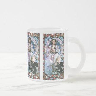 Mucha Mug: Slavia - Art Nouveau - Secession Frosted Glass Coffee Mug