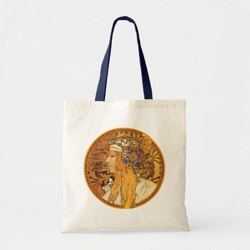 Mucha - mujer con las joyas - arte del vintage bolsas de mano
