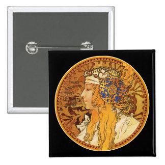 Mucha - mujer con las joyas - arte del vintage pins