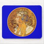 Mucha - mujer con las joyas - arte del vintage tapete de raton