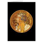 Mucha - mujer con las joyas - arte del vintage tarjeta de felicitación