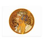 Mucha - mujer con las joyas - arte del vintage postal