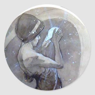 mucha north star art nouveau deco woman round sticker