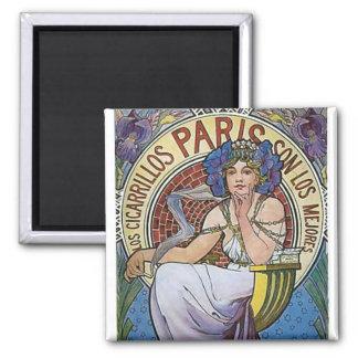 Mucha Paris art deco woman flowers 2 Inch Square Magnet