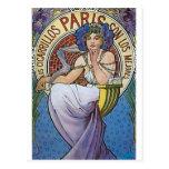 Mucha Paris art deco woman flowers Postcard