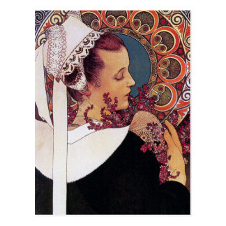 Mucha Postcard:   Alphonse Mucha - Art Nouveau
