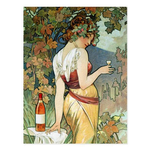 Mucha Postcard:  Cognac - Art Nouveau