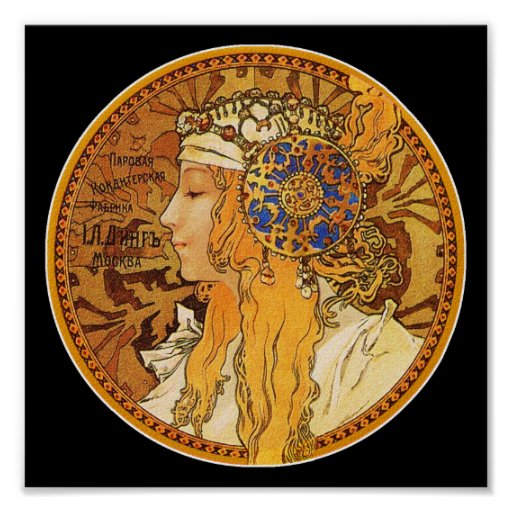 Mucha Poster/Print: Woman with Jewels Poster