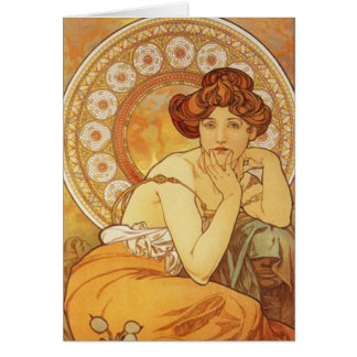 "Mucha ~ ""Precious Stone - Topaz"" November Birthday Card"